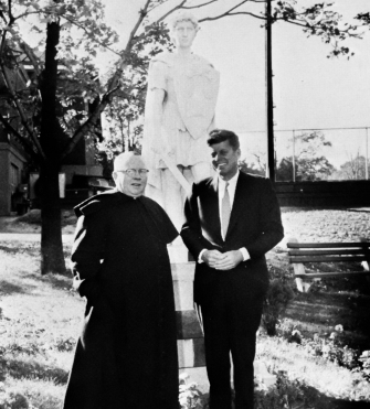 John F. Kennedy visits campus in 1960.